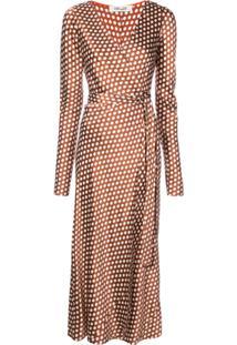7e746638c Dvf Diane Von Furstenberg Vestido De Seda Com Poás - Marrom