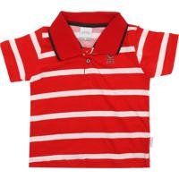 fee7ee8d06d2b Camiseta Polo Alakazoo Menino Listrado Vermelha