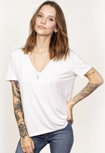 Camiseta Cora Básico Decote V Ampla Modal Feminina - Feminino-Branco