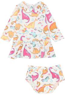 Vestido Tip Top Infantil Dinossauro Off-White
