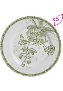 Conjunto De Pratos Para Sobremesa Floral- Branco & Verdescalla Cerâmica