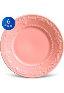 Conjunto Pratos Sobremesa Acanthus - 6 Peças - Porto Brasil - Rosa