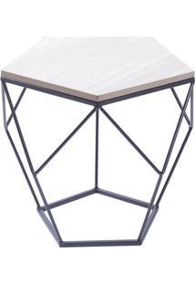 Mesa Lateral Geométrica- Preta & Madeira Clara- 36,5Or Design