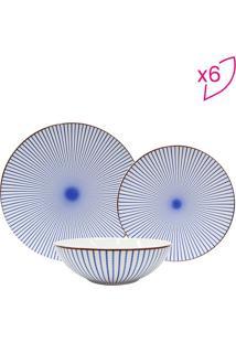 Aparelho De Jantar Moving Stripes- Branco & Azul- 18Dynasty