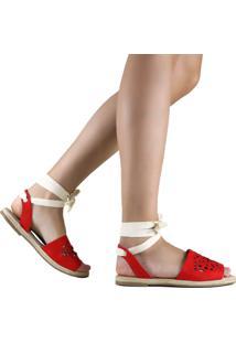 Sandália Zariff Shoes Rasteira Amarração Vermelho