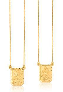 Escapulário De Ouro 18K Medalhas Ornato N.S.Carmo E S.C.Jesus