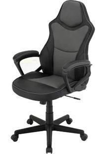 Cadeira Escritorio Denver Preto E Cinza Estofada Em Pu - 43965 - Sun House
