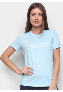 Camiseta Tommy Hilfiger Violet Regular Básica Feminina - Feminino-Azul Claro