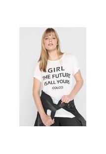 Camiseta Colcci Lettering Branca