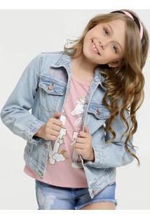 Jaqueta Infantil Jeans Manga Longa Marisa