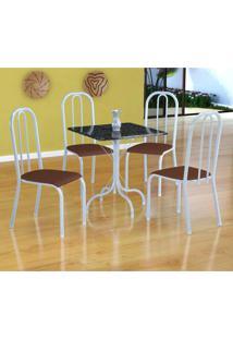 Conjunto De Mesa Malaga Com 4 Cadeiras Madri Branco E Amadeirado