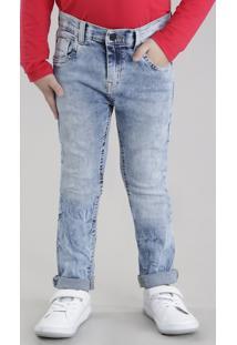 Calça Jeans Em Algodão + Sustentável Azul Claro