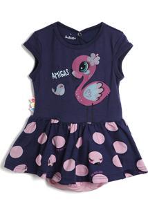 Vestido Zig Zig Zaa Flamingo Azul-Marinho