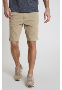 Bermuda De Sarja Masculina Slim Com Bolsos Bege