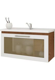 Gabinete De Banheiro Hibisco 1 Pt 1 Gv Amêndoa E Branco 79 Cm