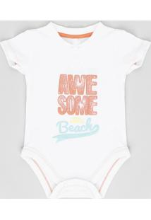 "Body Infantil ""Awesome Beach"" Manga Curta Gola Careca Off White"