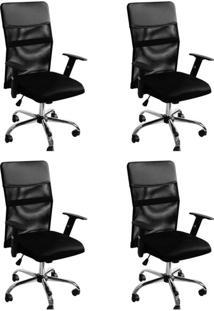 Conjunto Com 4 Cadeiras De Escritório Diretor Giratória Com Braços Ajustáveis Vancouver Ii Preto