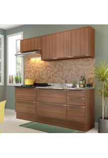 Cozinha Compacta Calábria 7 Portas 4 Gavetas Nogueira/Malt - Multimóveis