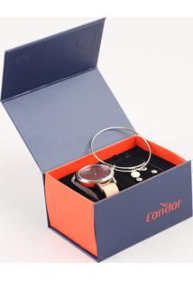Kit De Relógio Analógico Condor Feminino + Brinco + Pulseira - Co2035Kysk2T Bege - Único