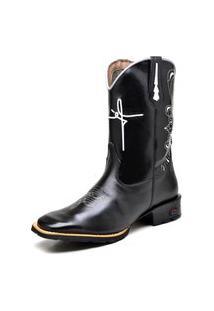 Bota Texana Fak Boots Cano Longo Bordado Fé Preta