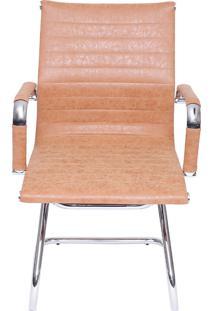 Cadeira De Escritório Esteirinha Retrô Fixa - Caramelo