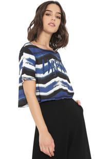 Camiseta Cropped Lança Perfume Estampada Azul/Branca