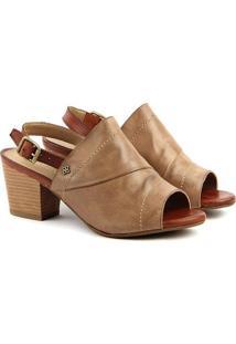 Sandália Salto Em Couro Feminina F1610 Vec Champ/Whisky 33