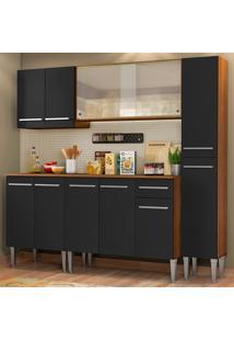 Cozinha Completa Madesa Emilly Fast Com Balcão, Armário Vidro Miniboreal E Paneleiro - Rustic/Preto Marrom