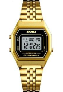 Relógio Skmei Digital 1345 Feminino - Feminino-Dourado+Preto