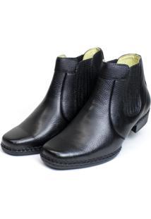 Bota Botina Country Soft Confort Preto Com Elástico Couro Cla Cle Preto - Kanui