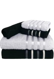 Jogo De Toalha 5 Peã§As Kit De Toalhas 2 Banho 2 Rosto 1 Piso Preta E Branca - Branco/Preto - Dafiti