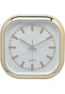 Relógio De Parede Quadrado 30,5Cm Dourado E Branco