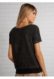 Camiseta John John Rocker Details Malha Cinza Feminina (Shirt Rocker Details, G)