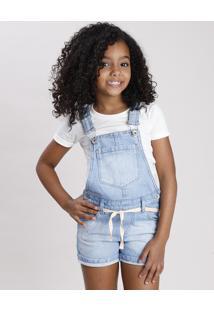 Jardineira Jeans Infantil Com Strass E Cinto Cadarço Azul Claro