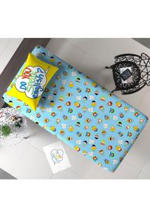Jogo De Cama Infantil Aprender 02 Peças - Portallar - Azul
