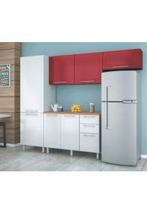 Cozinha Compacta Play I 7 Pt 3 Gv Branca E Vermelha