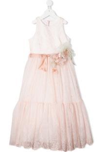 Colorichiari Vestido Midi Evasê Sem Mangas - Rosa