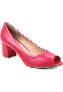 Peep Toe Couro Shoestock Basic Salto Bloco Medio - Feminino-Rosa