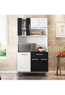 Cozinha Compacta Com Tampo Carol - Poliman - Branco / Preto