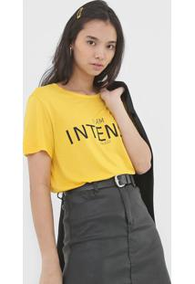 Camiseta Colcci I Am Intense Amarela - Amarelo - Feminino - Viscose - Dafiti
