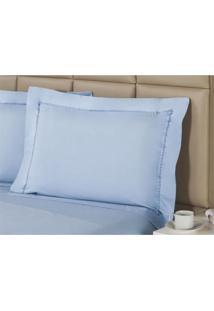 Fronha Premium Sky Blue Percal 233 Fios 50X90 Cm