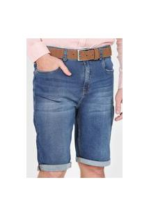 Bermuda Jeans Dzarm Reta Estonada Azul-Marinho