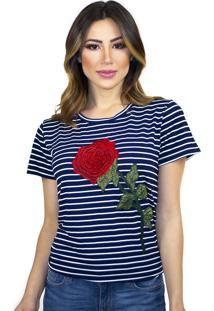 T-Shirt Cavallari Rosa Aplique Listrada