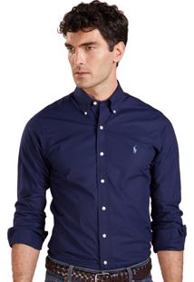 Camisa Ralph Lauren Masculina Custom Fit Oxford Marinho
