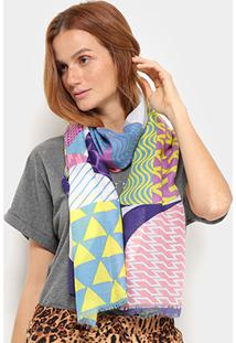 Xale Pashimina Color Geométrica - Feminino-Colorido