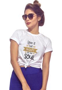 T-Shirt Joss Love Is The Beauty Branco