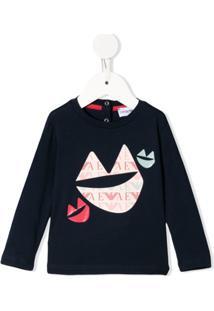 Emporio Armani Kids Blusa Com Estampa De Logo E Lábios - Azul