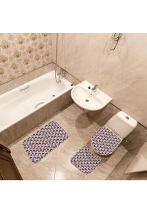 Jogo De Banheiro Geométrico Colorido Único