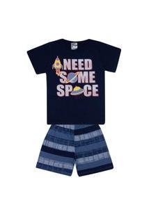 Conjunto Pijama Infantil Menino Em Meia Malha Marinho - Kontrato
