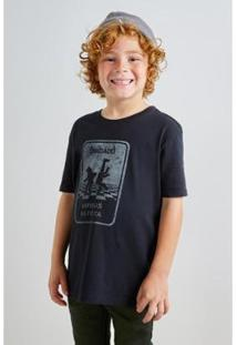 Camiseta Infantil Reserva Mini Estamp Pf Animais Na Pista Masculina - Masculino-Preto